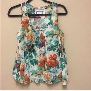 Anthro • Floral Layered Back Top